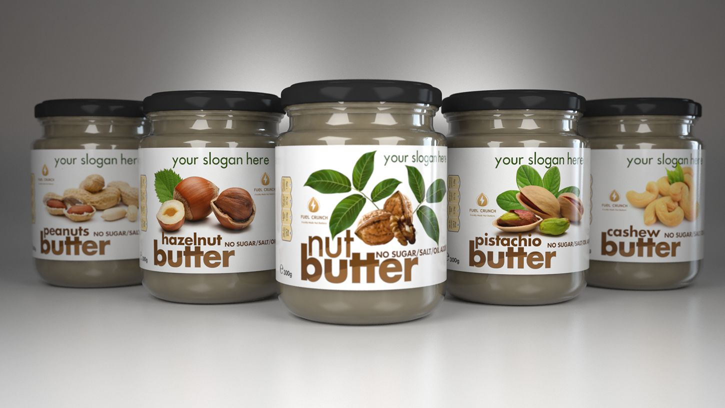 clean nut butter label design 3d jar simulation 3dartstudio 3d art