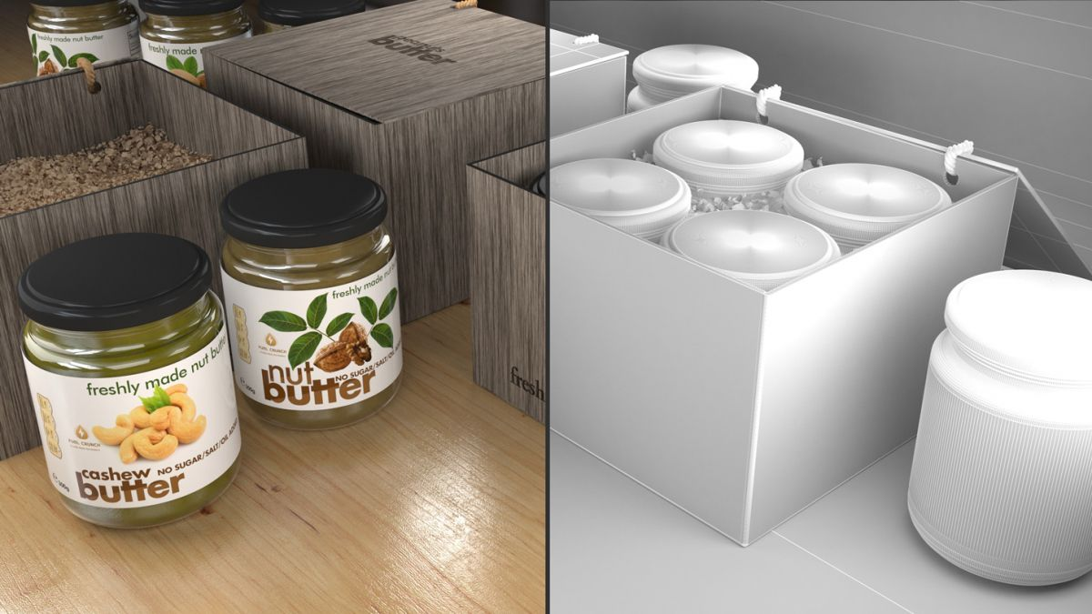 clean-nut-butter-label-design-3d-package-jar-simulation-modeling-rendering-3dartstudio