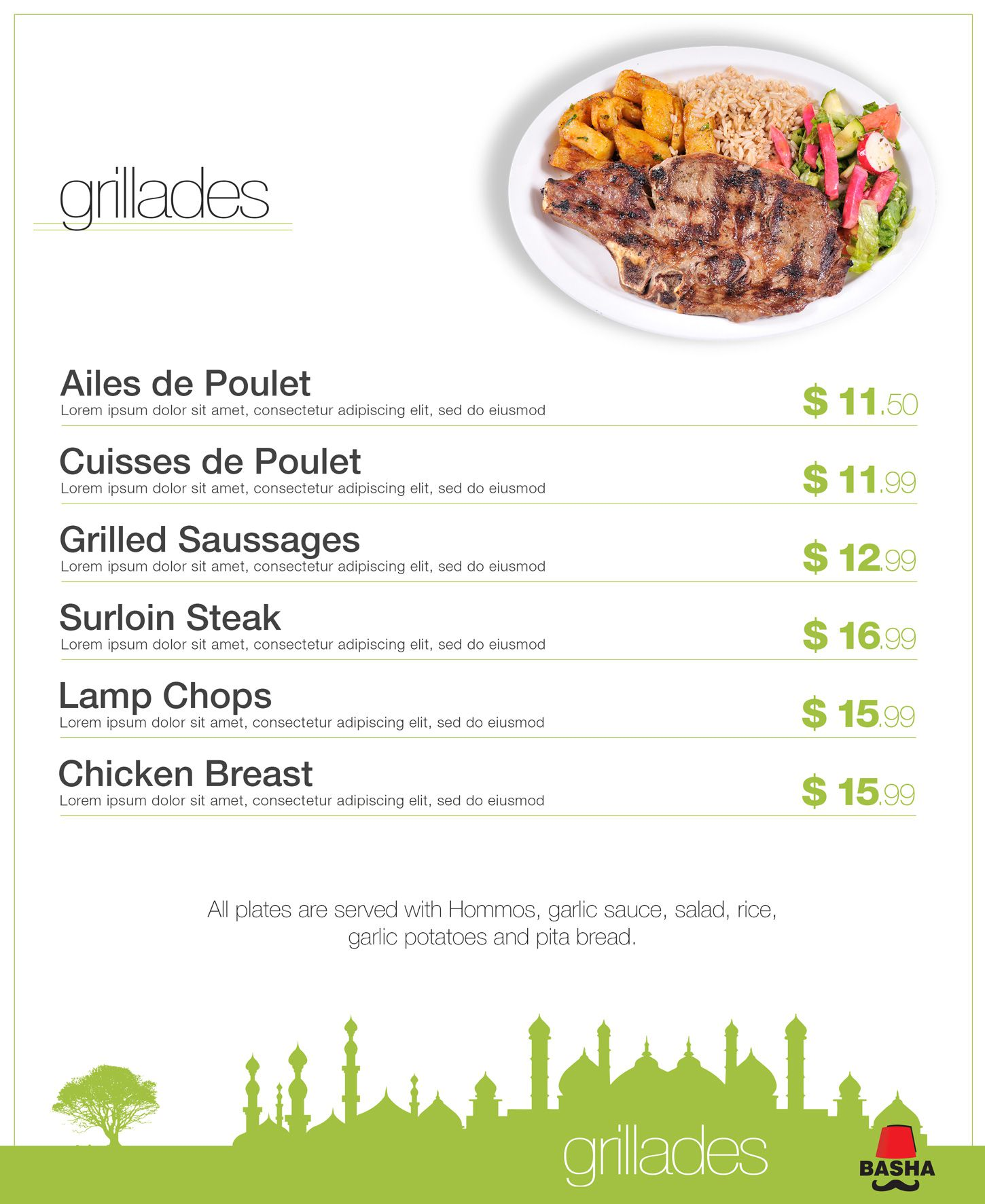 Lebanese cuisine menu for Conception cuisine snack