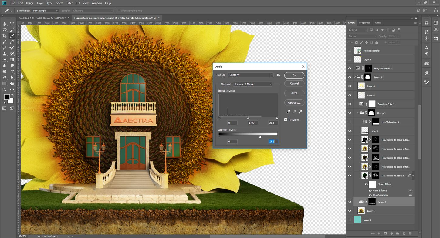 3D-Editing-design-agriculture-concept-sunflower-library-work-in-progress-3DArtStudio