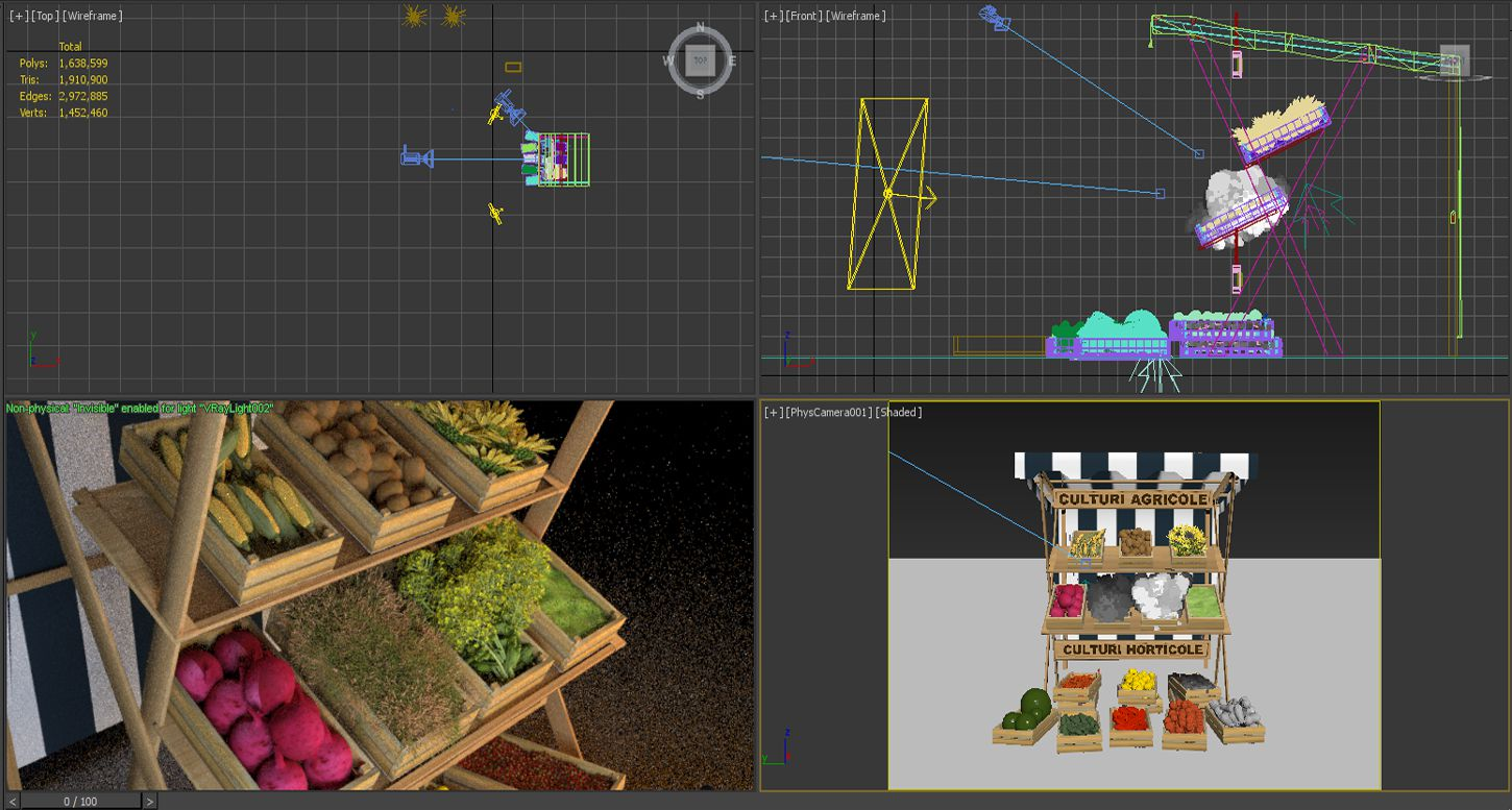 3D-modeling-rendering-agriculture-concept-vegetable-stall-work-in-progress-3DArtStudio